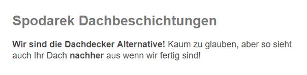Dachdecker Dortmund - Spodarek Dachbeschichtungen: Dachsanierer, Dachbeschichter, Dachrenovierer