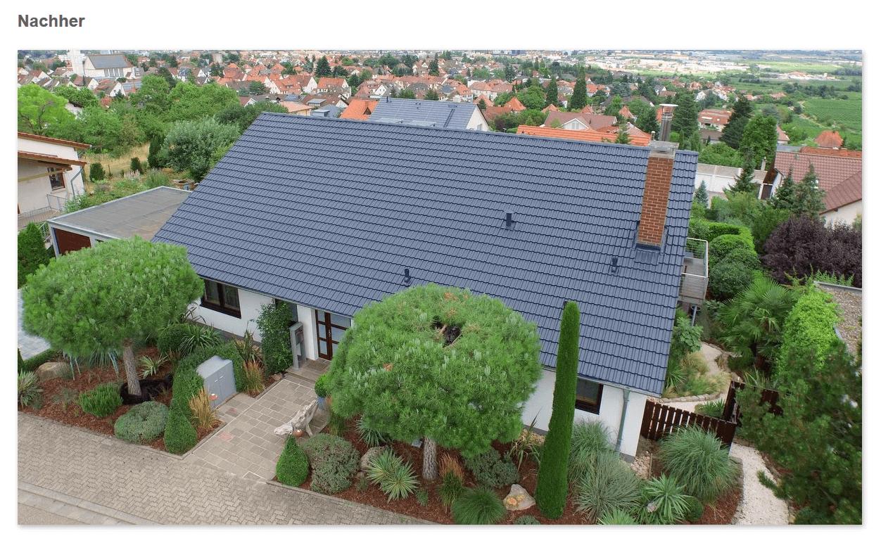 Dach Nachher aus  Regensburg: Dachversiegelung, saubere Oberfläche, Ziegel in neuer Farbe, Mehr Lebensdauer